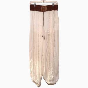 Boho Crochet Accent Beach Pants Laces Detail White
